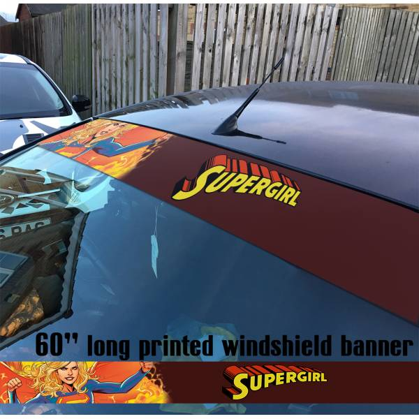 "60"" Supergirl v3 Superman Girl DC Comics Logo Sun Strip Printed Windshield Car Vinyl Sticker Decal"