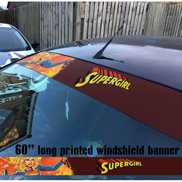 "60"" Supergirl v3 Clark Kent Girl  Comics  Sun Strip Printed Windshield Car Vinyl Sticker Decal#Superman"