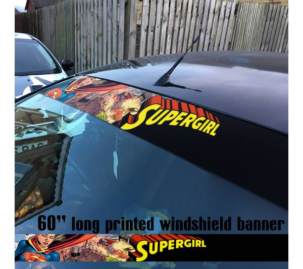 "60"" Supergirl v9 Superman Fight Girl DC Comics Logo Sun Strip Printed Windshield Car Vinyl Sticker Decal"