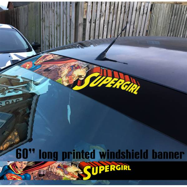 "60"" Supergirl v9 Superman Fight Girl DC Comics Logo Sun Strip Printed Windshield Car Vinyl Sticker Decal"