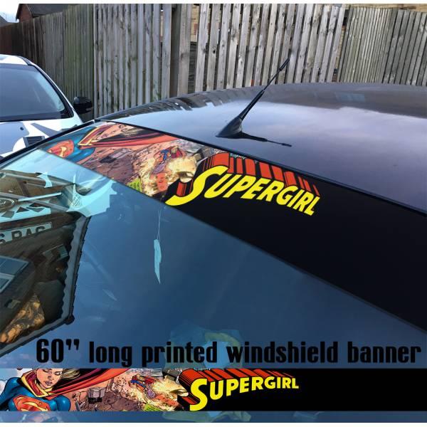 "60"" Supergirl v9 Clark Kent Fight Girl  Comics  Sun Strip Printed Windshield Car Vinyl Sticker Decal#Superman"