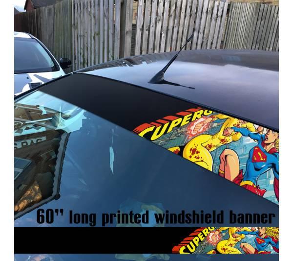 "60"" Supergirl v8 Superman Battle Girl DC Comics Logo Sun Strip Printed Windshield Car Vinyl Sticker Decal"