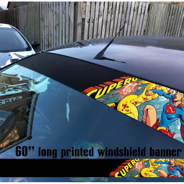 "60"" Supergirl v8 Clark Kent Battle Girl  Comics  Sun Strip Printed Windshield Car Vinyl Sticker Decal#Superman"