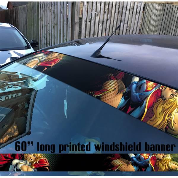 "60"" Supergirl v4 Powergirl Girl  Comics  Sun Strip Printed Windshield Car Vinyl Sticker Decal"