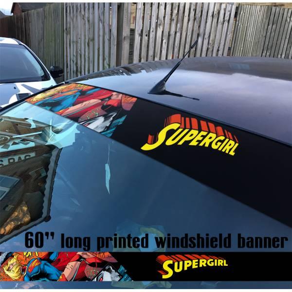 "60"" Supergirl v5 Clark Kent Girl  Comics  Sun Strip Printed Windshield Car Vinyl Sticker Decal#Superman"