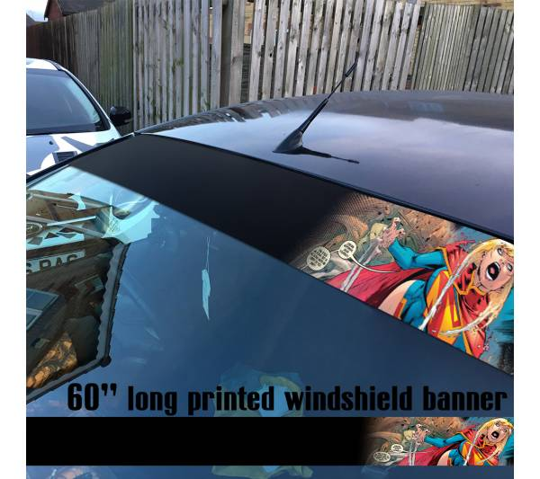 "60"" Supergirl v7 Superman Insane Girl DC Comics Logo Sun Strip Printed Windshield Car Vinyl Sticker Decal"