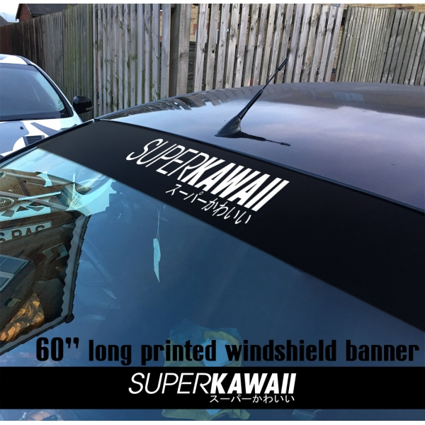 "60"" Super Kawaii スーパーかわいい JDM Stance Low Tuning Slammed Printed Windshield Car Vinyl Sticker Decal>"