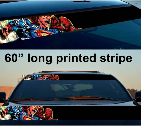 "60"" Superman Angry Justice League Kent DC Sun Strip Printed Windshield Car Vinyl Sticker Decal"