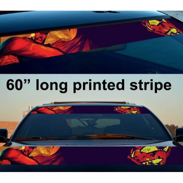 "60"" Superman Bad Evil Logo Justice League Kent DC Sun Strip Printed Windshield Car Vinyl Sticker Decal"