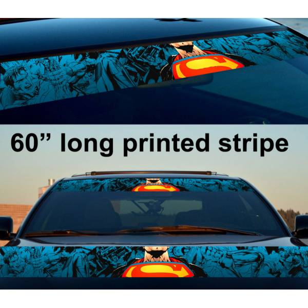 "60"" Superman Power Comics Logo Kent DC Sun Strip Printed Windshield Car Vinyl Sticker Decal"