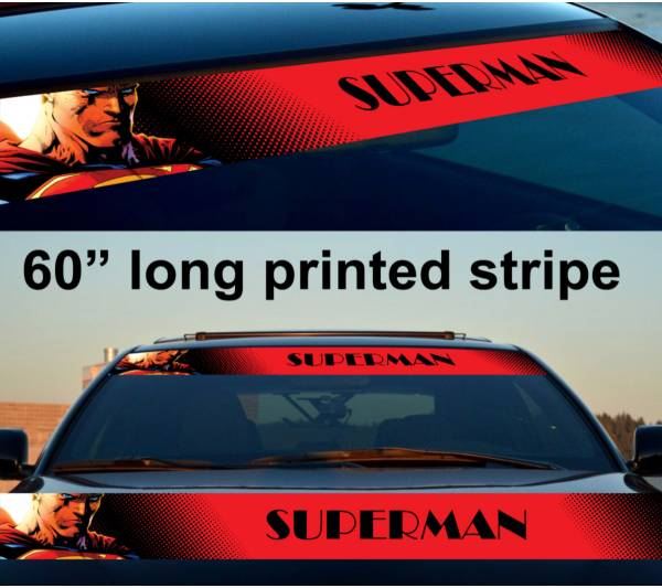 "60"" Superman Logo Justice League Kent DC Sun Strip Printed Windshield Car Vinyl Sticker Decal"