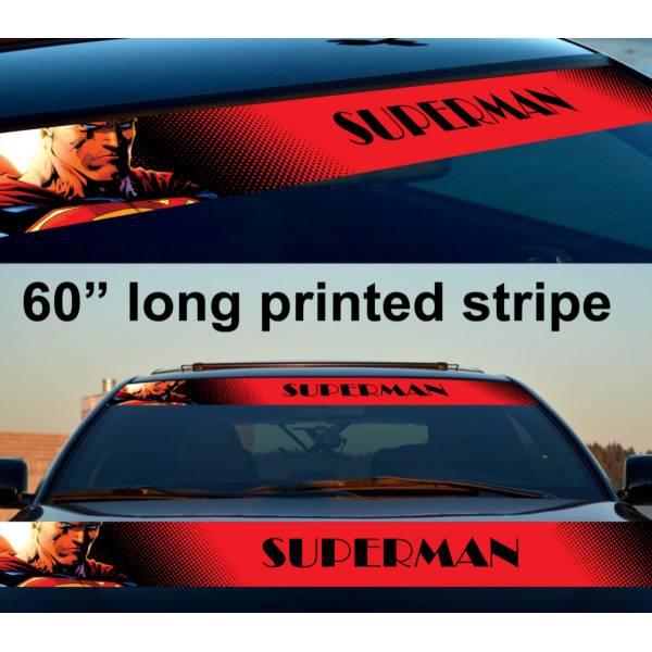 "60"" Superman Logo Justice League Kent DC Sun Strip Printed Windshield Car Vinyl Sticker Decal"