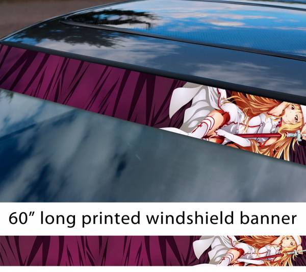 "60"" Sword Art Online Yūki Asuna v1 Sexy Hot Girl Boobs Ass Anime Manga Sun Strip Printed Windshield Vinyl Sticker"