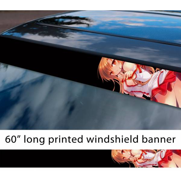 "60"" Sword Art Online Yūki Asuna v2 Sexy Hot Girl Boobs Ass Anime Manga Sun Strip Printed Windshield Vinyl Sticker>"