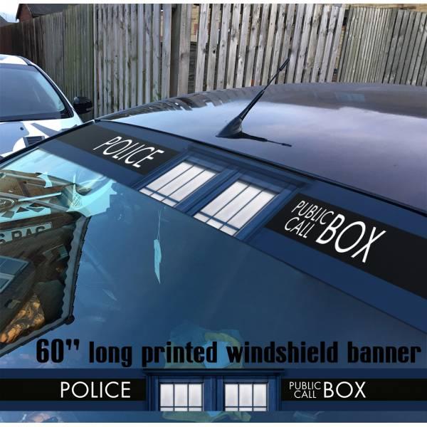 "60"" Doctor Who v2 Police Box TV Show Tardis Dalek Sun Strip Printed Windshield Car Vinyl Sticker Decal"