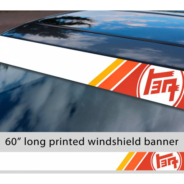 "60"" TEQ Retro Racing v2 Sun Strip Printed Windshield Car Vinyl Sticker Decal>"