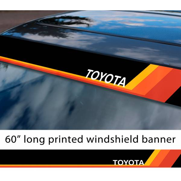 "60"" Toyota TEQ Logo Retro Racing v3 Sun Strip Printed Windshield Car Vinyl Sticker Decal#Toyota"