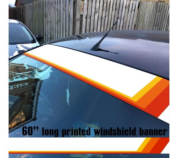 "60"" TEQ Retro Rising Racing v4 Sun Strip Printed Windshield Car Vinyl Sticker Decal>"