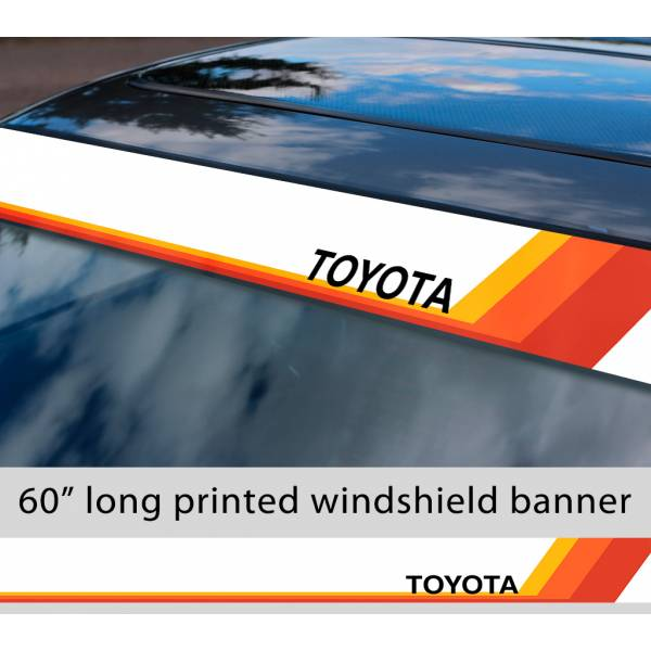 "60"" Toyota TEQ Logo Retro Racing v4 Sun Strip Printed Windshield Car Vinyl Sticker Decal"