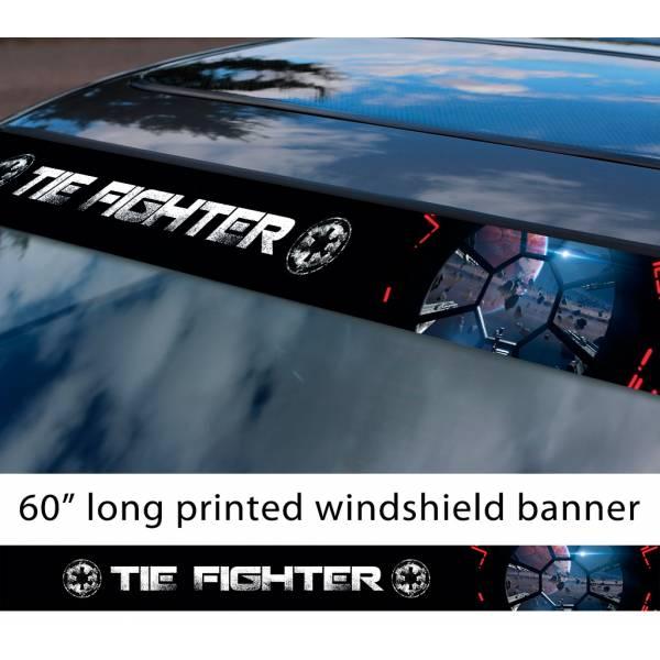 "60"" TIE Fighter v1 Galactic Empire Stormtrooper Pilot First Order Sun Strip Printed Car Vinyl Sticker Decal>"