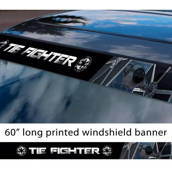 "60"" TIE Fighter v2 Galactic Empire Stormtrooper Pilot First Order Sun Strip Printed Car Vinyl Sticker Decal>"