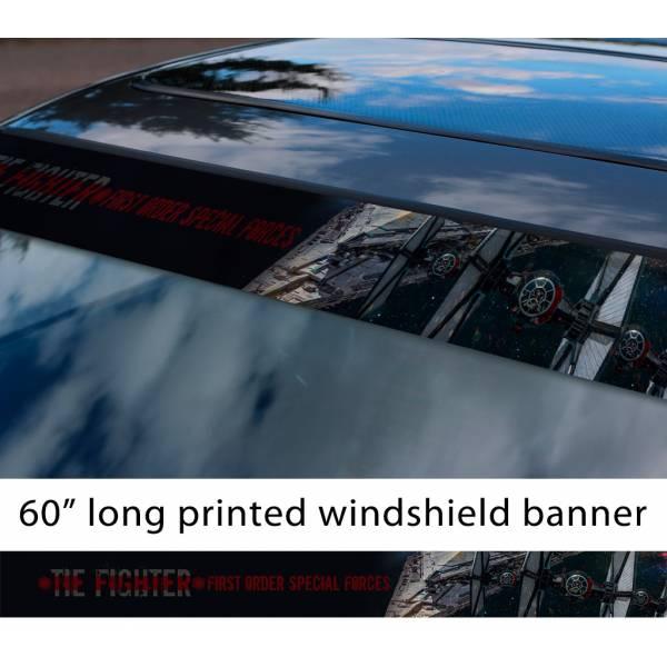 "60"" TIE Fighter v3 Galactic Empire Stormtrooper Pilot First Order Sun Strip Printed Car Vinyl Sticker Decal>"