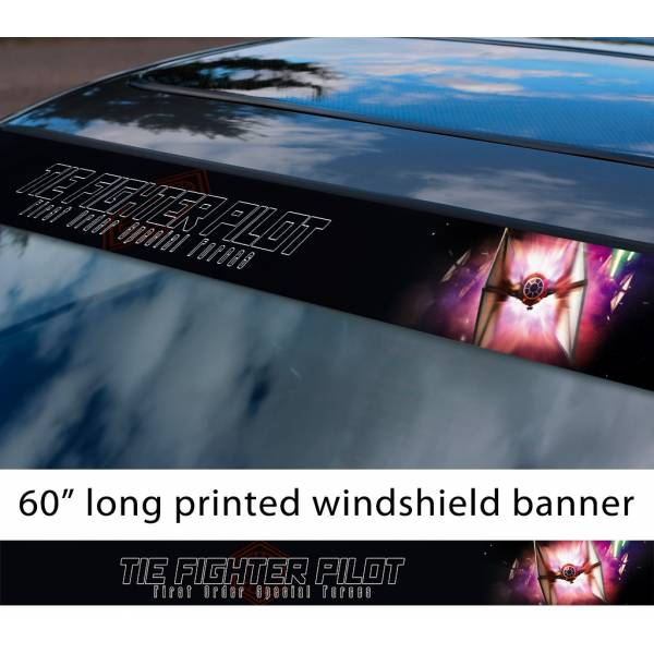"60"" TIE Fighter v4 Galactic Empire Stormtrooper Pilot First Order Sun Strip Printed Car Vinyl Sticker Decal>"