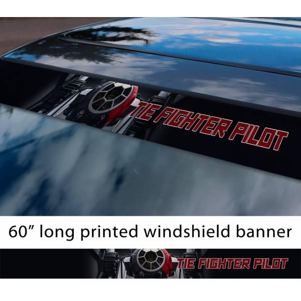 "60"" TIE Fighter v5 Galactic Empire Stormtrooper Pilot First Order Sun Strip Printed Car Vinyl Sticker Decal>"