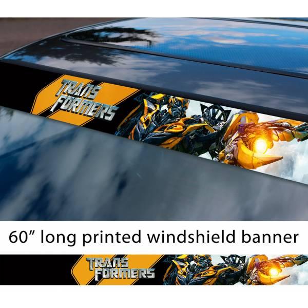 "60"" Transformers v1 Autobot Bumblebee Decepticons Megatron Chevrolet Chevy Camaro Emblem Sun Strip Printed Windshield Car Vinyl Sticker Decal"