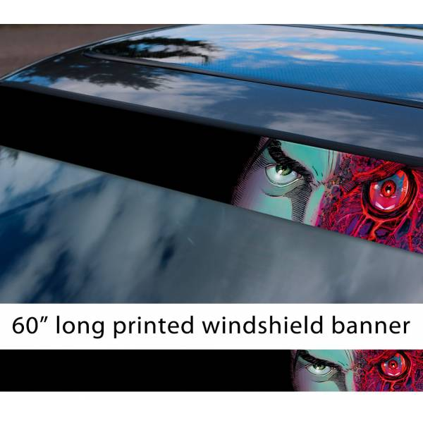 "60"" Two-Face v1 Harvey Dent Bruce Wayne Villain Comics Gotham Superhero Sun Strip Printed Windshield Car Vinyl Sticker Decal>"