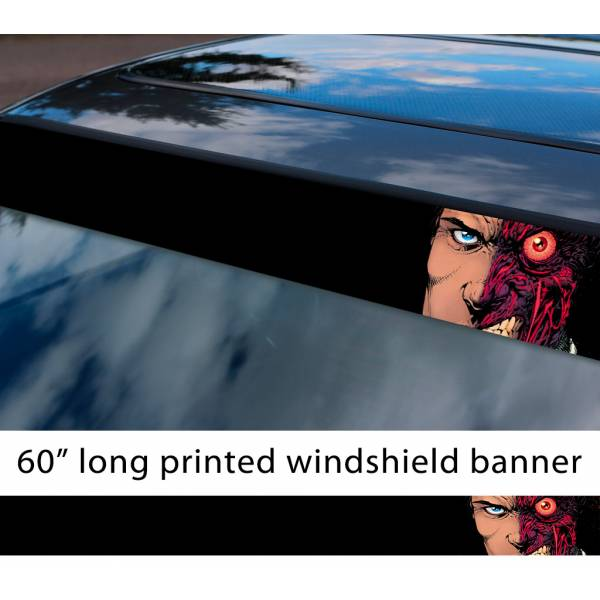 "60"" Two-Face v3 Harvey Dent Bruce Wayne Villain Comics Gotham Superhero Sun Strip Printed Windshield Car Vinyl Sticker Decal>"