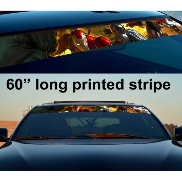 "60"" Comics  Sun Strip Printed Windshield Graphics Vinyl Sticker Decal>"