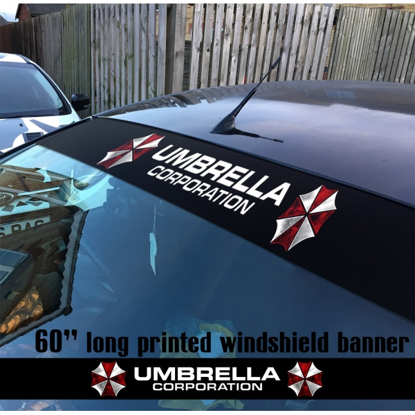 "60"" Umbrella Corporation Evil V1 Game Zombie Outbreak Response Team Movie Sun Strip Printed Windshield Car Vinyl Sticker Decal>"