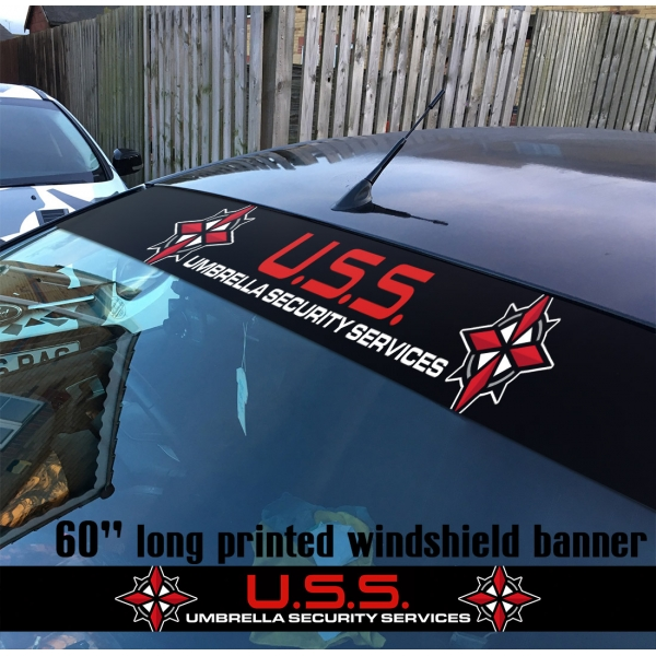 "60"" Umbrella Security Service Corporation USS  Resident Evil V2 Game Zombie Outbreak Response Team Sun Strip Printed Windshield Car Vinyl Sticker Decal"