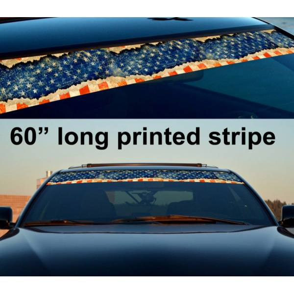 "60"" USA Flag Star American Distressed Sun Strip Printed Windshield Vinyl Sticker"