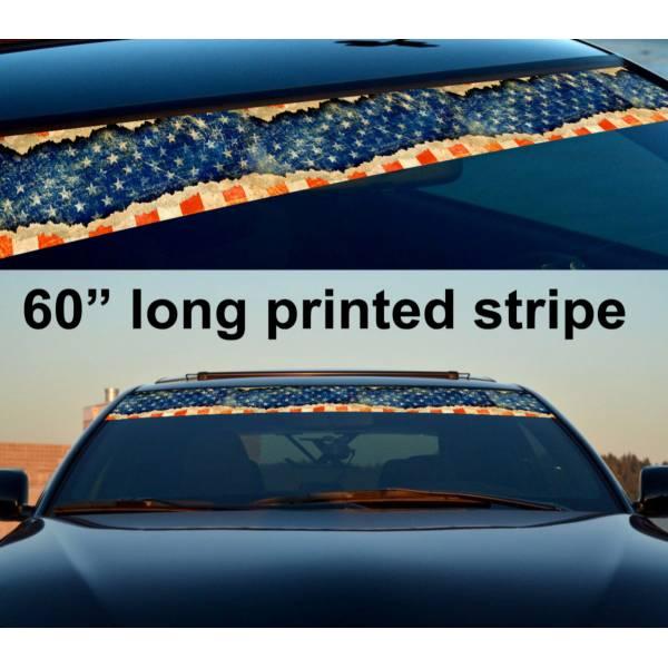 "60"" USA Flag Star American Distressed Sun Strip Printed Windshield Vinyl Sticker"