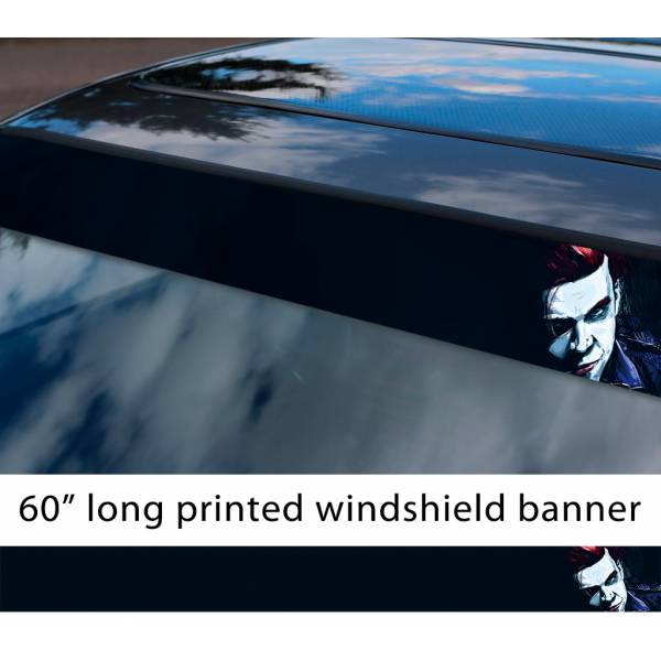 "60"" Jerome Valeska Hahaha Why So Serious Villain Comics Gotham Superhero Sun Strip Printed Windshield Car Vinyl Sticker Decal>"