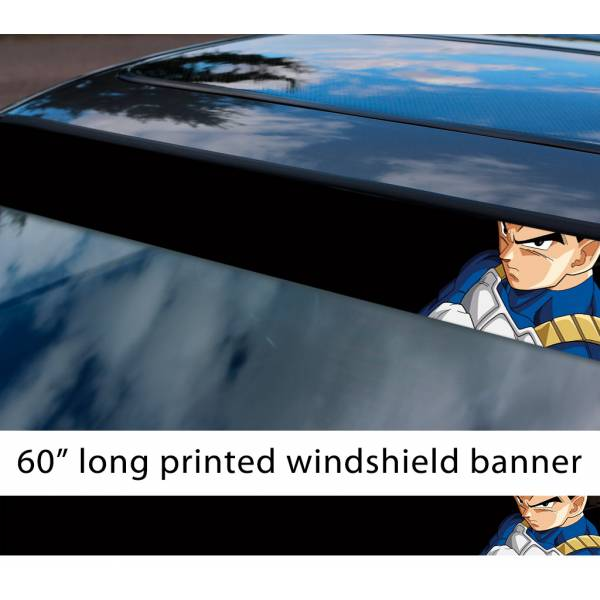 "60"" Vegeta Fallen Saiyan v1 Dragon Ball Z DBZ Super Goku Manga Anime Sun Strip Printed Windshield Car Vinyl Sticker Decal"