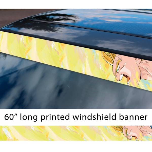 "60"" Vegeta Fallen Saiyan v3 Dragon Ball Z DBZ Super Goku Manga Anime Sun Strip Printed Windshield Car Vinyl Sticker Decal"