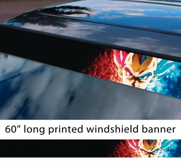 "60"" Vegeta Fallen Saiyan v4 Dragon Ball Z DBZ Super Goku Manga Anime Sun Strip Printed Windshield Car Vinyl Sticker Decal"