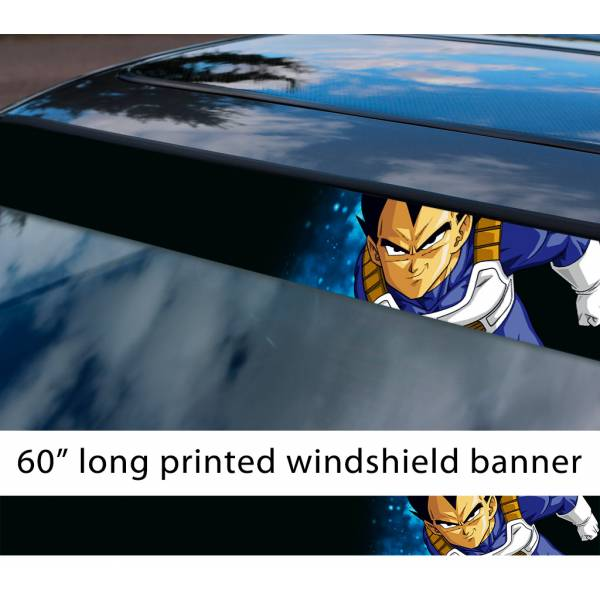 "60"" Vegeta Fallen Saiyan v5 Dragon Ball Z DBZ Super Goku Manga Anime Sun Strip Printed Windshield Car Vinyl Sticker Decal"