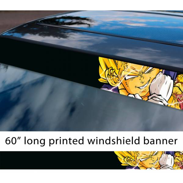 "60"" Vegeta Fallen Saiyan v6 Dragon Ball Z DBZ Super Goku Manga Anime Sun Strip Printed Windshield Car Vinyl Sticker Decal"