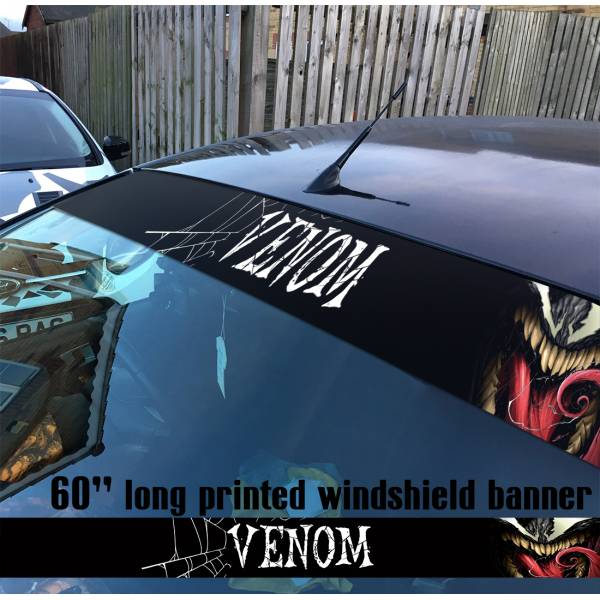 "60"" Venom Symbiote Marvel Antihero Spider-Man V1 Sun Strip Printed Windshield Car Vinyl Sticker Decal"
