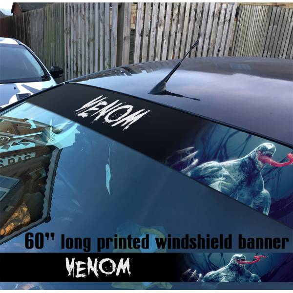 "60"" Venom Symbiote Marvel Antihero Spider-Man V2 Sun Strip Printed Windshield Car Vinyl Sticker Decal"