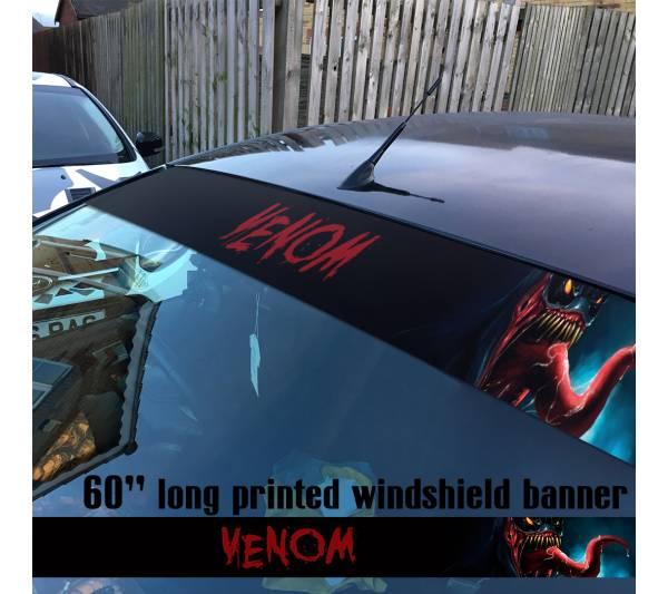 "60"" Venom Symbiote Marvel Antihero Spider-Man V3 Sun Strip Printed Windshield Car Vinyl Sticker Decal"