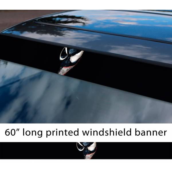 "60"" Venom Symbiote Marvel Antihero Spider-Man V5 Sun Strip Printed Windshield Car Vinyl Sticker Decal"
