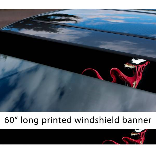 "60"" Venom Symbiote Marvel Antihero Spider-Man V6 Sun Strip Printed Windshield Car Vinyl Sticker Decal"