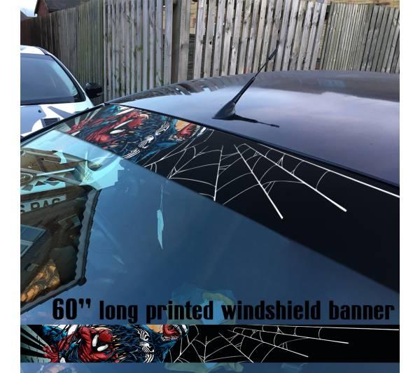 "60"" Venom Symbiote Marvel Antihero Spider-Man V4 Sun Strip Printed Windshield Car Vinyl Sticker Decal"