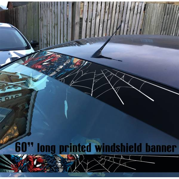"60"" Venom Symbiote Marvel Antihero Spider-Man V4 Sun Strip Printed Windshield Car Vinyl Sticker Decal"