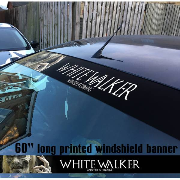 "60"" Game of Thrones Night's Watch White Walker Snow Winter is Coming Sun Strip Printed Windshield Car Vinyl Sticker Decal"